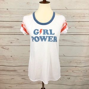 Chaser Girl Power Cold Shoulder Burnout Tee